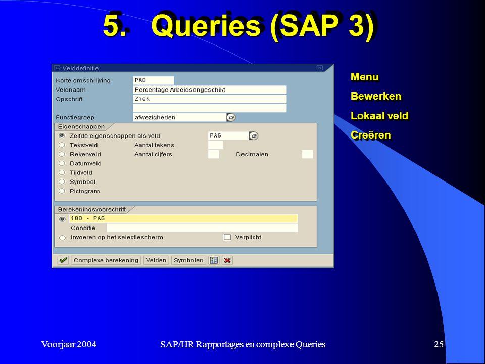 Voorjaar 2004SAP/HR Rapportages en complexe Queries25 5.Queries (SAP 3) MenuBewerken Lokaal veld CreërenMenuBewerken Creëren