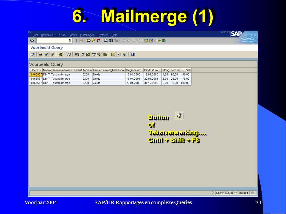Voorjaar 2004SAP/HR Rapportages en complexe Queries31 6.Mailmerge (1) ButtonofTekstverwerking….