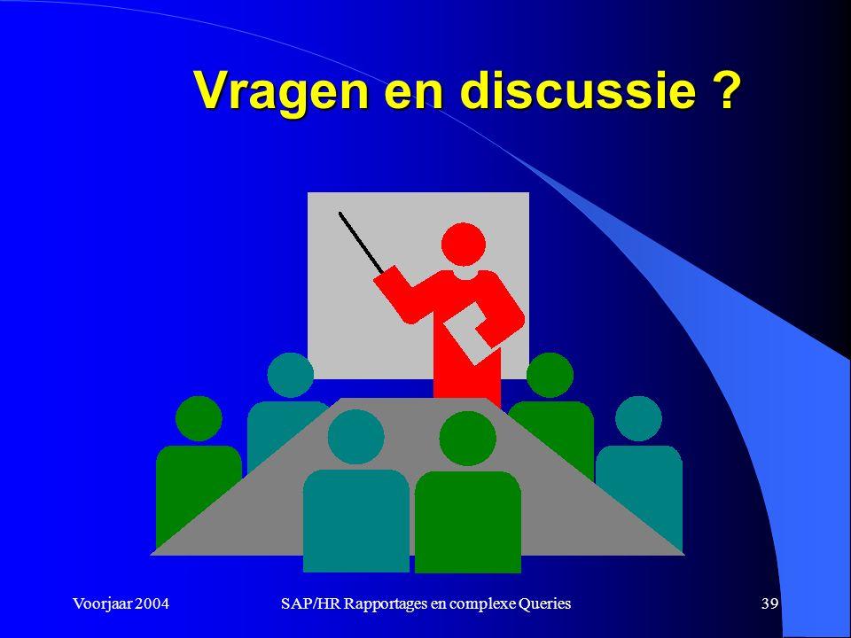 Voorjaar 2004SAP/HR Rapportages en complexe Queries39 Vragen en discussie