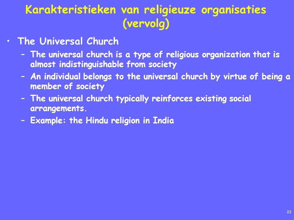23 Karakteristieken van religieuze organisaties (vervolg) The Universal Church –The universal church is a type of religious organization that is almos