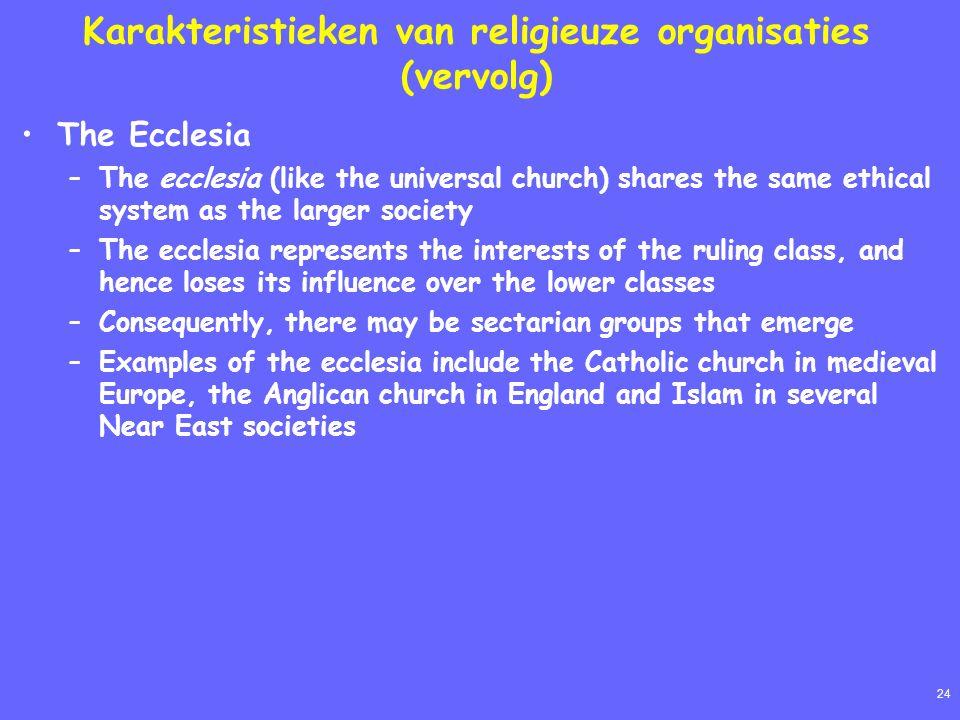 24 Karakteristieken van religieuze organisaties (vervolg) The Ecclesia –The ecclesia (like the universal church) shares the same ethical system as the
