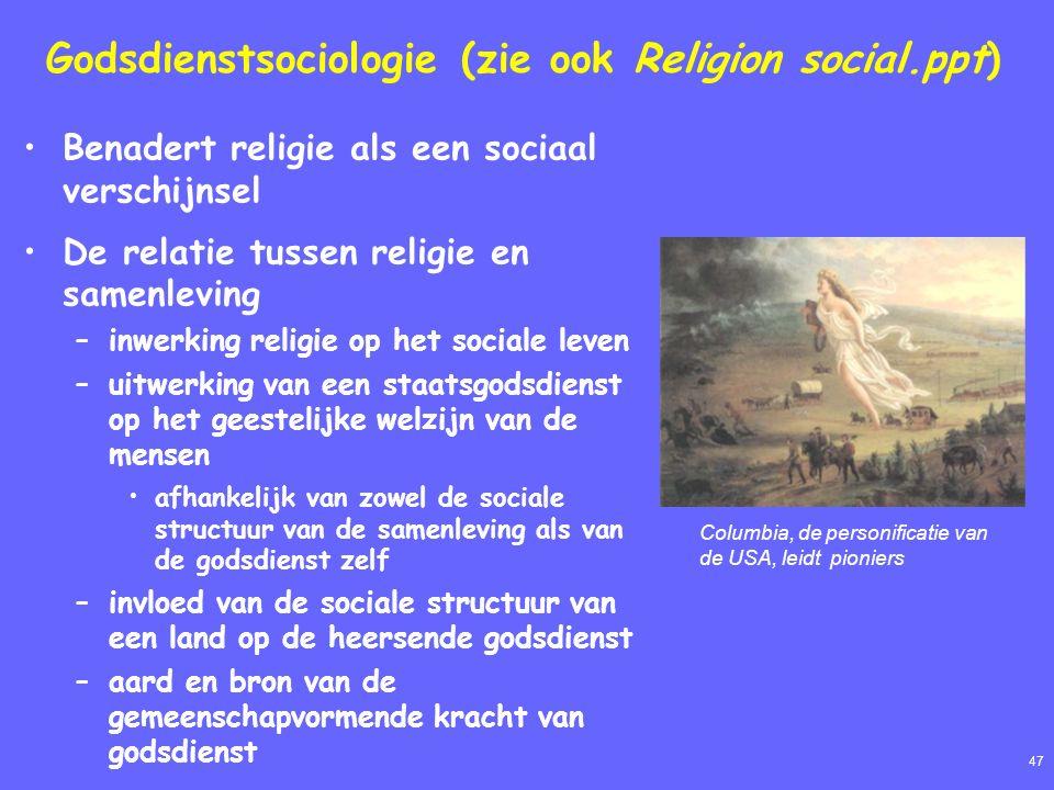 47 Godsdienstsociologie (zie ook Religion social.ppt) Benadert religie als een sociaal verschijnsel De relatie tussen religie en samenleving –inwerkin
