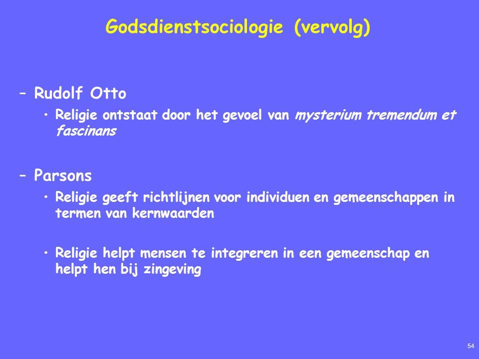 54 Godsdienstsociologie (vervolg) –Rudolf Otto Religie ontstaat door het gevoel van mysterium tremendum et fascinans –Parsons Religie geeft richtlijne