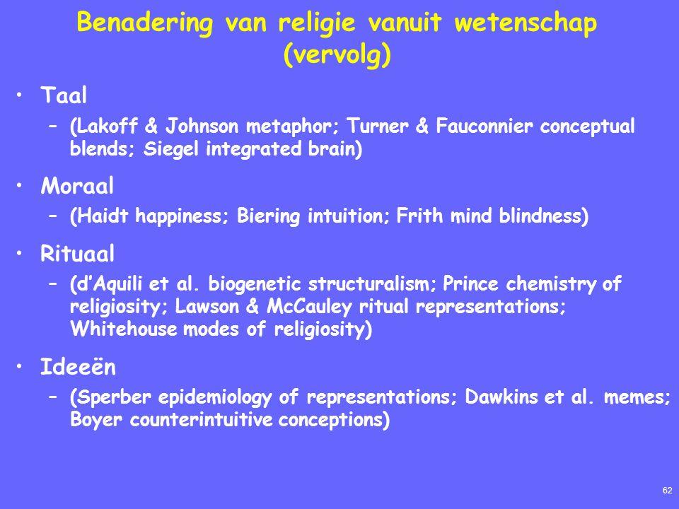 62 Benadering van religie vanuit wetenschap (vervolg) Taal –(Lakoff & Johnson metaphor; Turner & Fauconnier conceptual blends; Siegel integrated brain