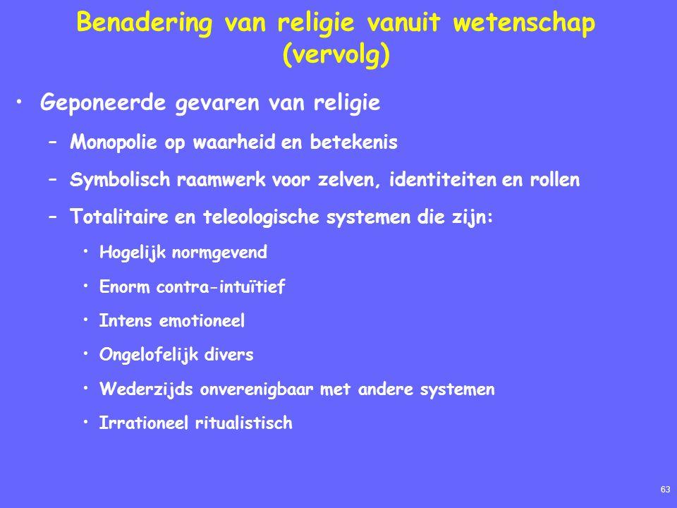 63 Benadering van religie vanuit wetenschap (vervolg) Geponeerde gevaren van religie –Monopolie op waarheid en betekenis –Symbolisch raamwerk voor zel