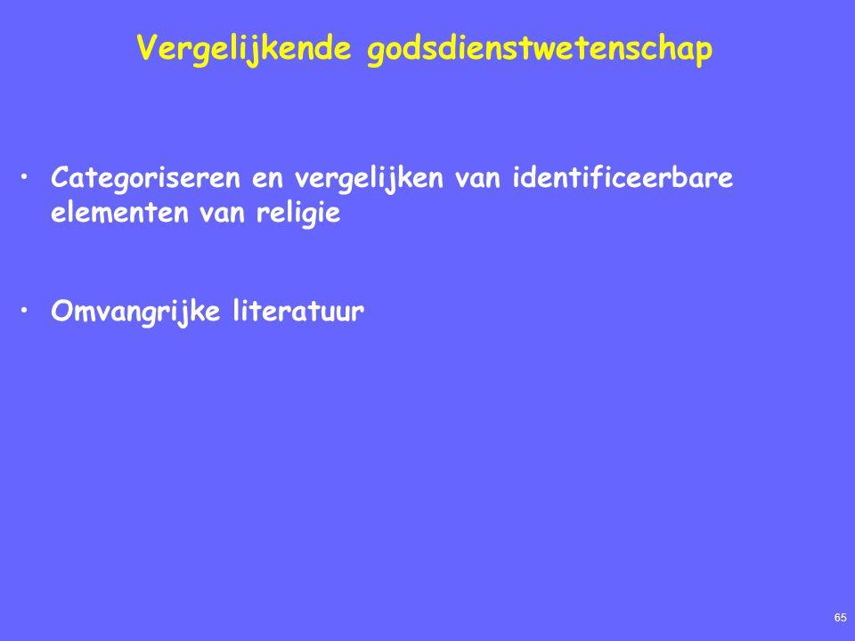 65 Vergelijkende godsdienstwetenschap Categoriseren en vergelijken van identificeerbare elementen van religie Omvangrijke literatuur