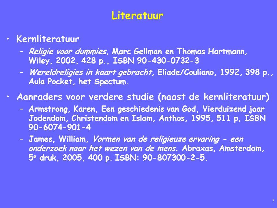7 Literatuur Kernliteratuur –Religie voor dummies, Marc Gellman en Thomas Hartmann, Wiley, 2002, 428 p., ISBN 90-430-0732-3 –Wereldreligies in kaart gebracht, Eliade/Couliano, 1992, 398 p., Aula Pocket, het Spectum.