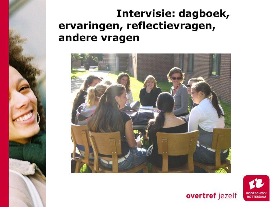 Intervisie: dagboek, ervaringen, reflectievragen, andere vragen