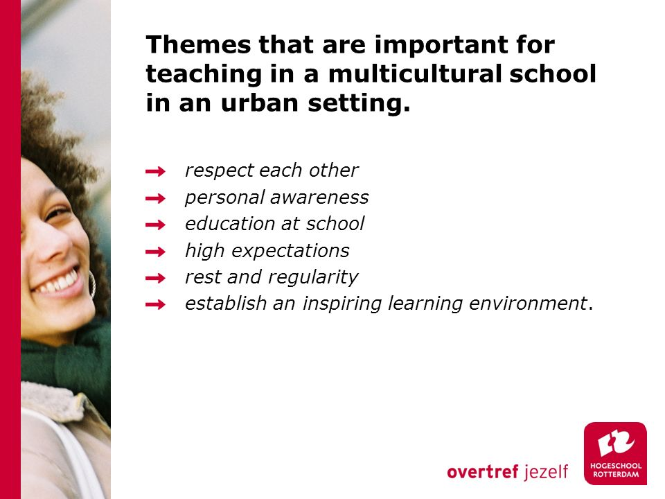 Themes that are important for teaching in a multicultural school in an urban setting.