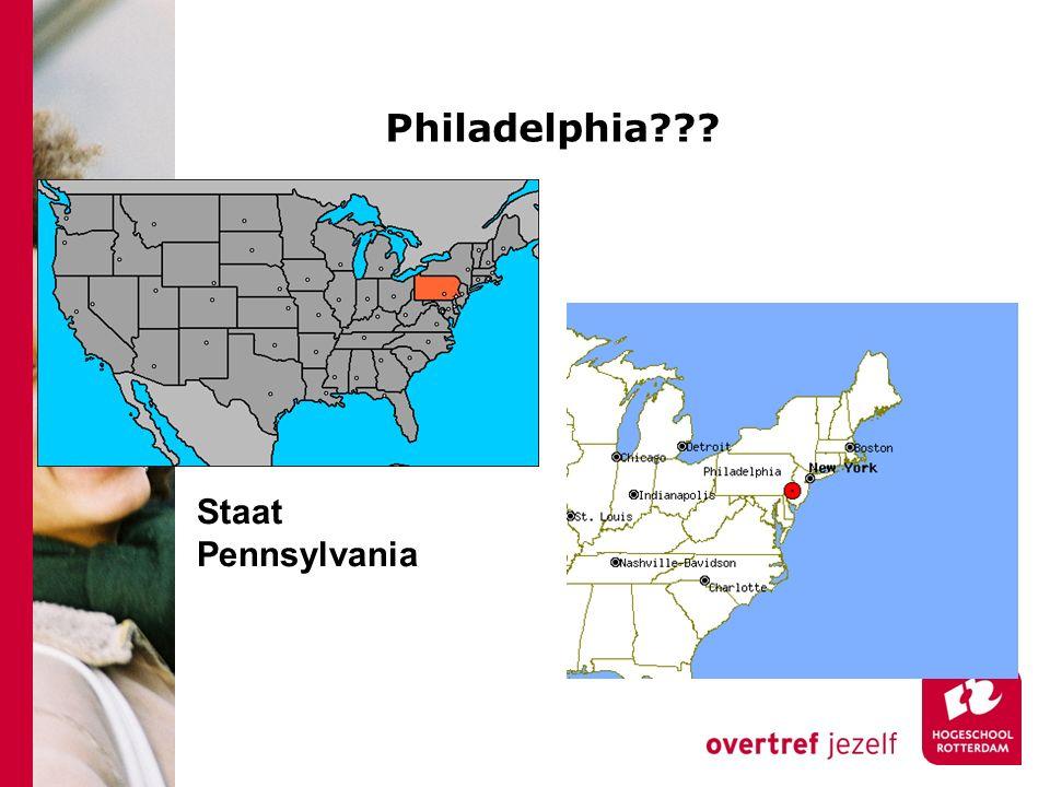 Onderwijskansen en Philadelphia 369.3 km 2 (9 x groter dan Ned) 6 e stad van de VS (1.5 mln inwoners).