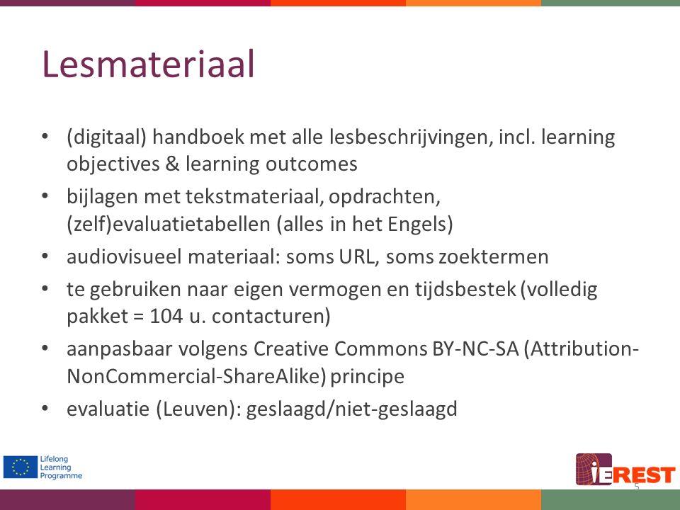 Lesmateriaal (digitaal) handboek met alle lesbeschrijvingen, incl. learning objectives & learning outcomes bijlagen met tekstmateriaal, opdrachten, (z