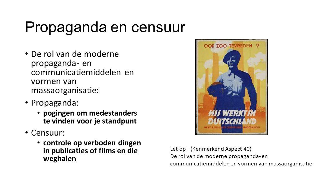 Propaganda en censuur De rol van de moderne propaganda- en communicatiemiddelen en vormen van massaorganisatie: Propaganda: pogingen om medestanders t