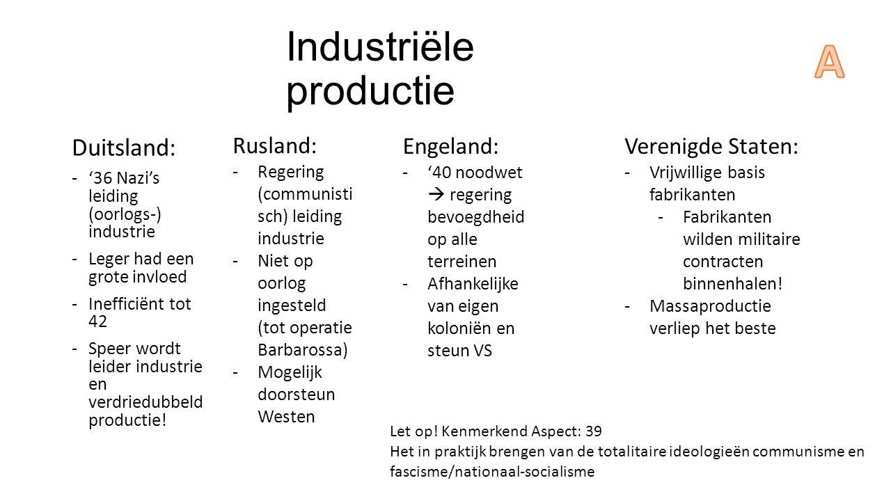 Industriële productie Duitsland: -'36 Nazi's leiding (oorlogs-) industrie -Leger had een grote invloed -Inefficiënt tot 42 -Speer wordt leider industr