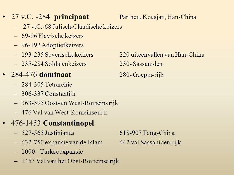 27 v.C. -284 principaat Parthen, Koesjan, Han-China – 27 v.C.-68 Julisch-Claudische keizers –69-96 Flavische keizers –96-192 Adoptiefkeizers –193-235