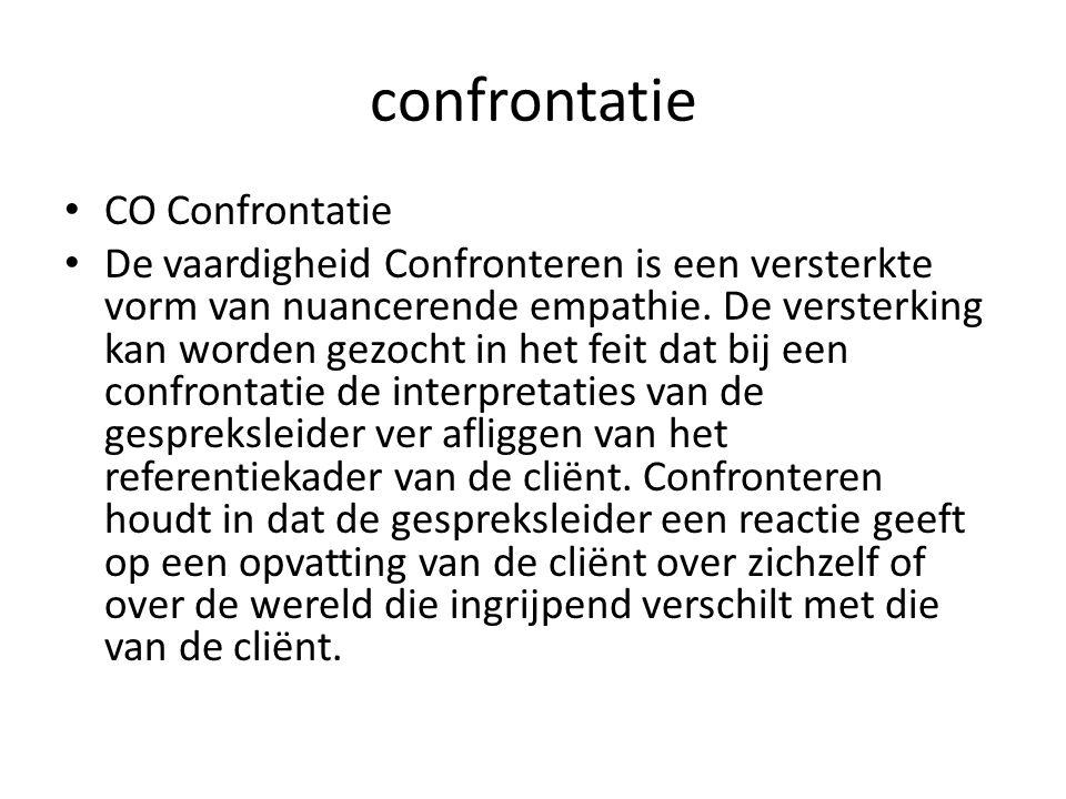 confrontatie CO Confrontatie De vaardigheid Confronteren is een versterkte vorm van nuancerende empathie. De versterking kan worden gezocht in het fei