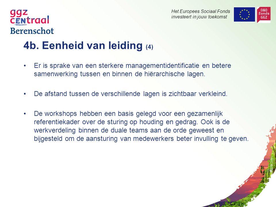 Het Europees Sociaal Fonds investeert in jouw toekomst 4b. Eenheid van leiding (4) Er is sprake van een sterkere managementidentificatie en betere sam