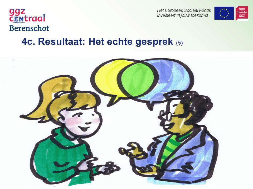 Het Europees Sociaal Fonds investeert in jouw toekomst 4c. Resultaat: Het echte gesprek (5)