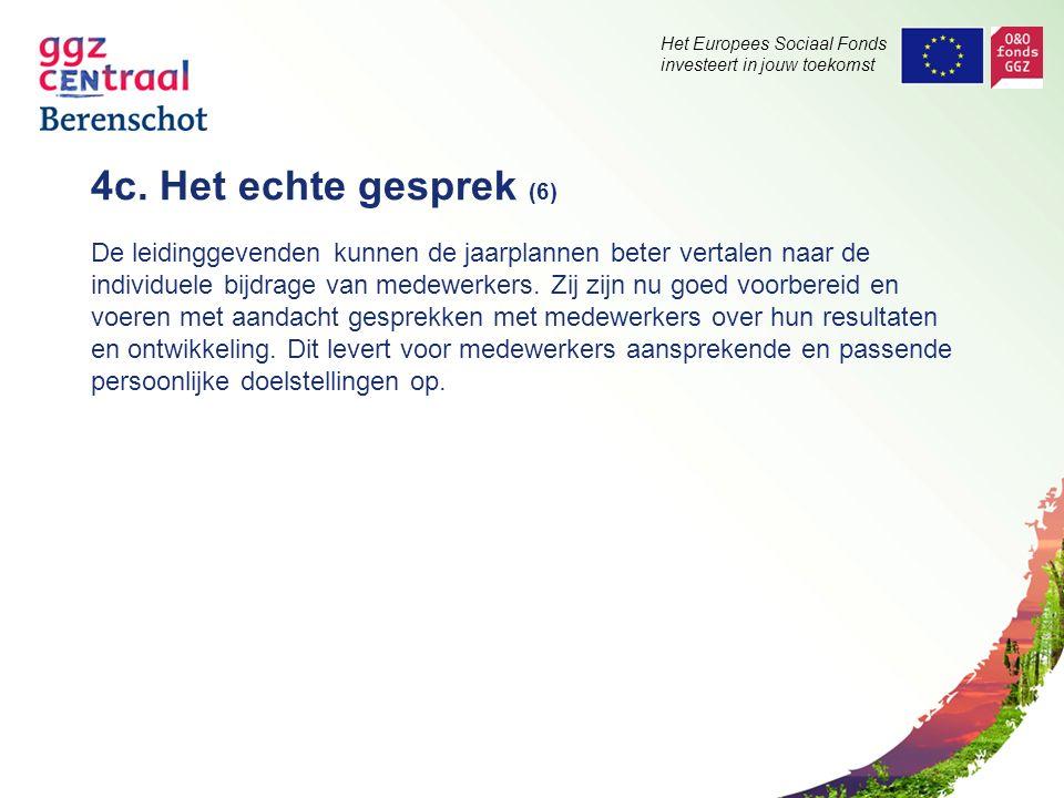 Het Europees Sociaal Fonds investeert in jouw toekomst 4c. Het echte gesprek (6) De leidinggevenden kunnen de jaarplannen beter vertalen naar de indiv