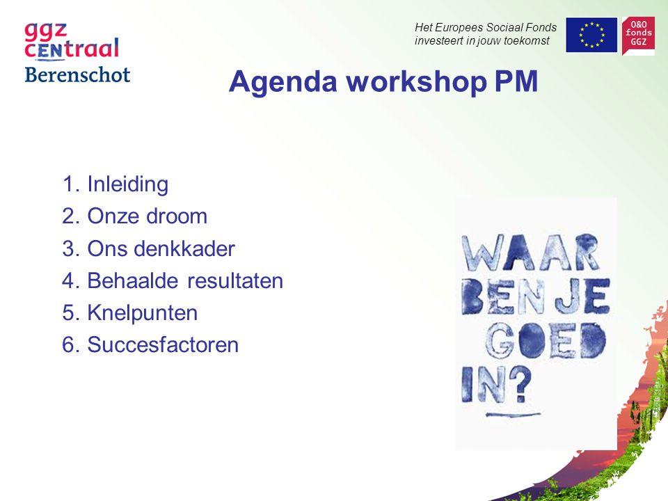 Het Europees Sociaal Fonds investeert in jouw toekomst Agenda workshop PM 1.Inleiding 2.Onze droom 3.Ons denkkader 4.Behaalde resultaten 5.Knelpunten