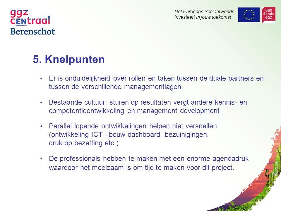 Het Europees Sociaal Fonds investeert in jouw toekomst 5. Knelpunten Er is onduidelijkheid over rollen en taken tussen de duale partners en tussen de