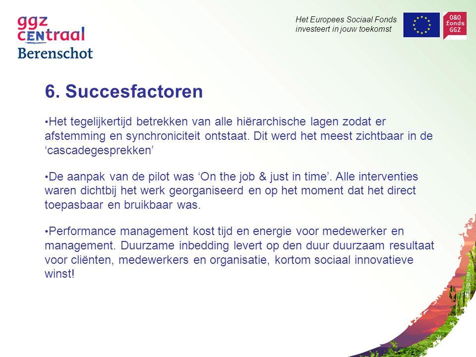 Het Europees Sociaal Fonds investeert in jouw toekomst 6. Succesfactoren Het tegelijkertijd betrekken van alle hiërarchische lagen zodat er afstemming