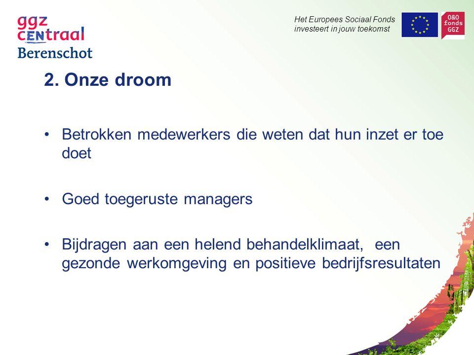 Het Europees Sociaal Fonds investeert in jouw toekomst 2. Onze droom Betrokken medewerkers die weten dat hun inzet er toe doet Goed toegeruste manager