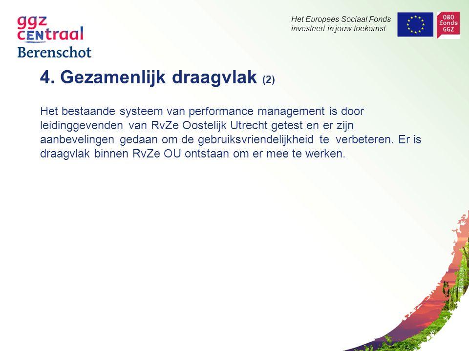 Het Europees Sociaal Fonds investeert in jouw toekomst 4. Gezamenlijk draagvlak (2) Het bestaande systeem van performance management is door leidingge