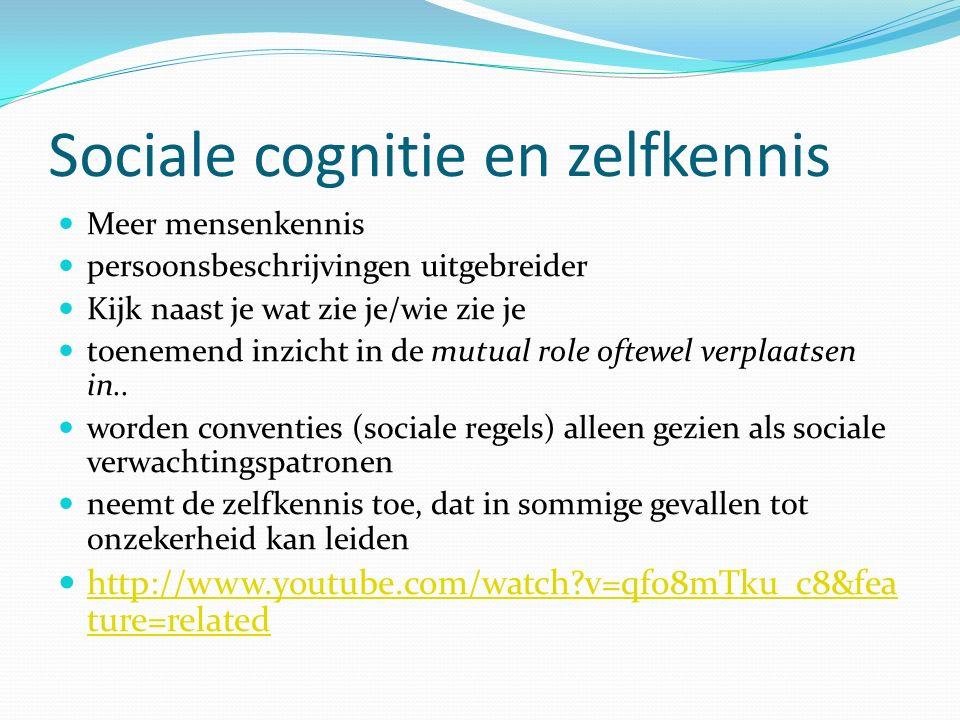 Sociale cognitie en zelfkennis Meer mensenkennis persoonsbeschrijvingen uitgebreider Kijk naast je wat zie je/wie zie je toenemend inzicht in de mutual role oftewel verplaatsen in..