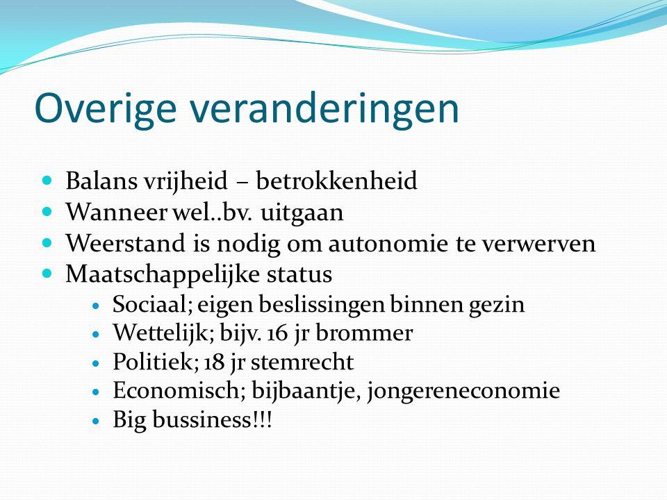 Overige veranderingen Balans vrijheid – betrokkenheid Wanneer wel..bv.