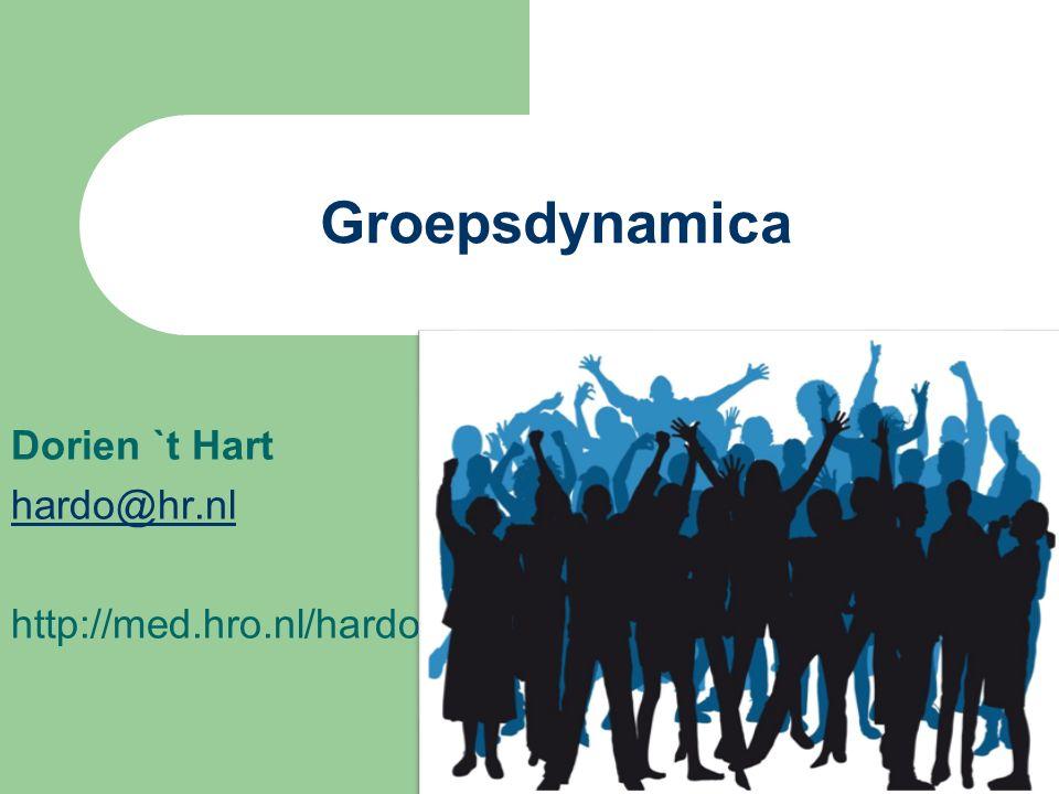 Dorien `t Hart hardo@hr.nl http://med.hro.nl/hardo Groepsdynamica