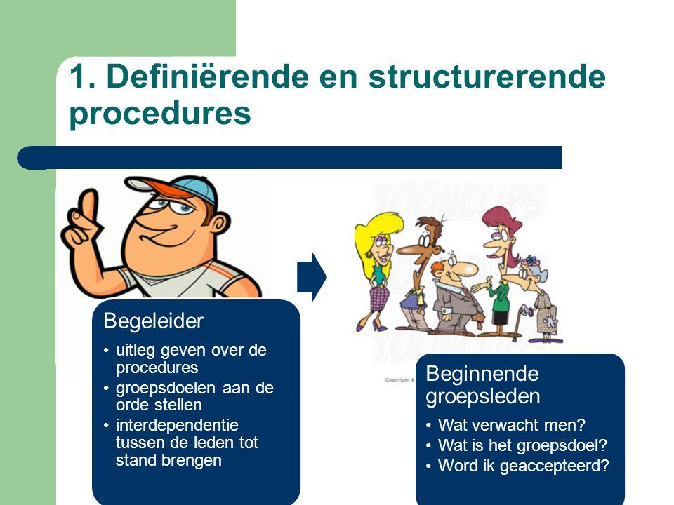 Begeleider uitleg geven over de procedures groepsdoelen aan de orde stellen interdependentie tussen de leden tot stand brengen Beginnende groepsleden