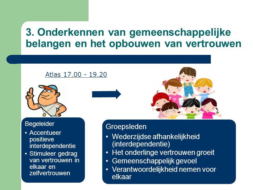 Begeleider Accentueer positieve interdependentie Stimuleer gedrag van vertrouwen in elkaar en zelfvertrouwen Groepsleden Wederzijdse afhankelijkheid (