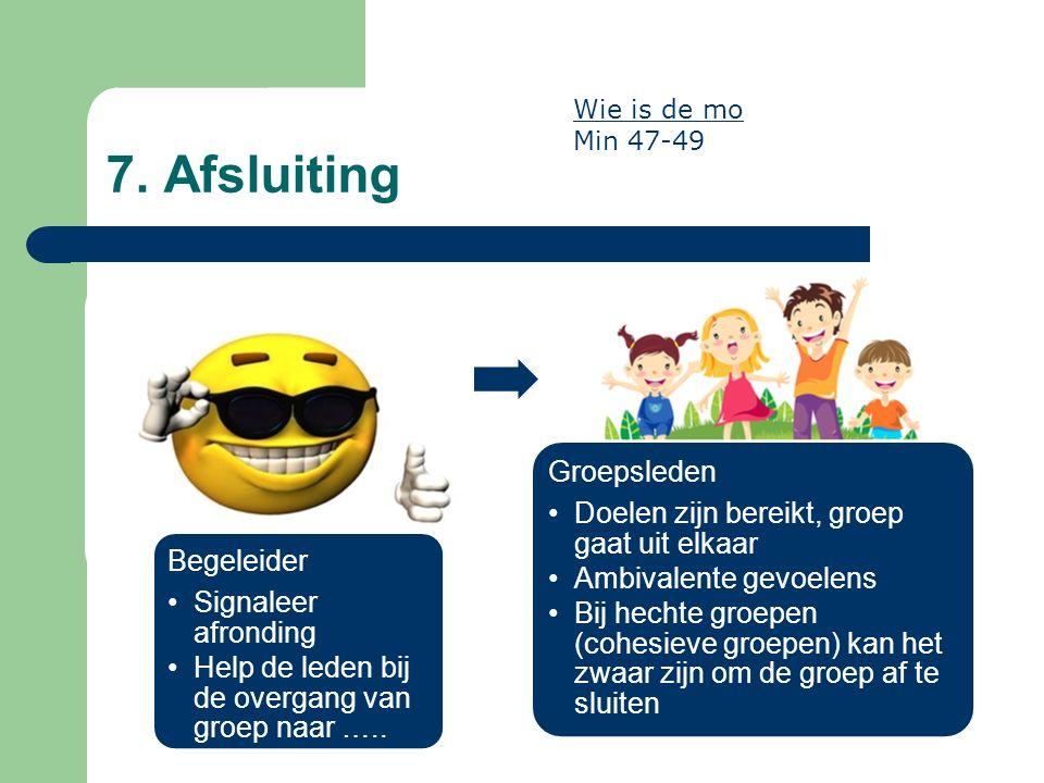 Begeleider Signaleer afronding Help de leden bij de overgang van groep naar ….. Groepsleden Doelen zijn bereikt, groep gaat uit elkaar Ambivalente gev