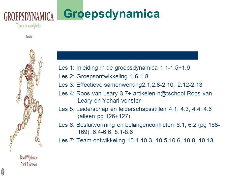 Groepsdynamica Les 1: Inleiding in de groepsdynamica 1.1-1.5+1.9 Les 2: Groepsontwikkeling 1.6-1.8 Les 3: Effectieve samenwerking2.1,2.8-2.10, 2.12-2.