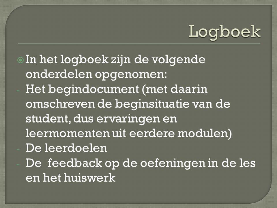  In het logboek zijn de volgende onderdelen opgenomen: - Het begindocument (met daarin omschreven de beginsituatie van de student, dus ervaringen en leermomenten uit eerdere modulen) - De leerdoelen - De feedback op de oefeningen in de les en het huiswerk
