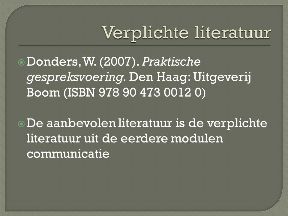 Donders, W.(2007). Praktische gespreksvoering.