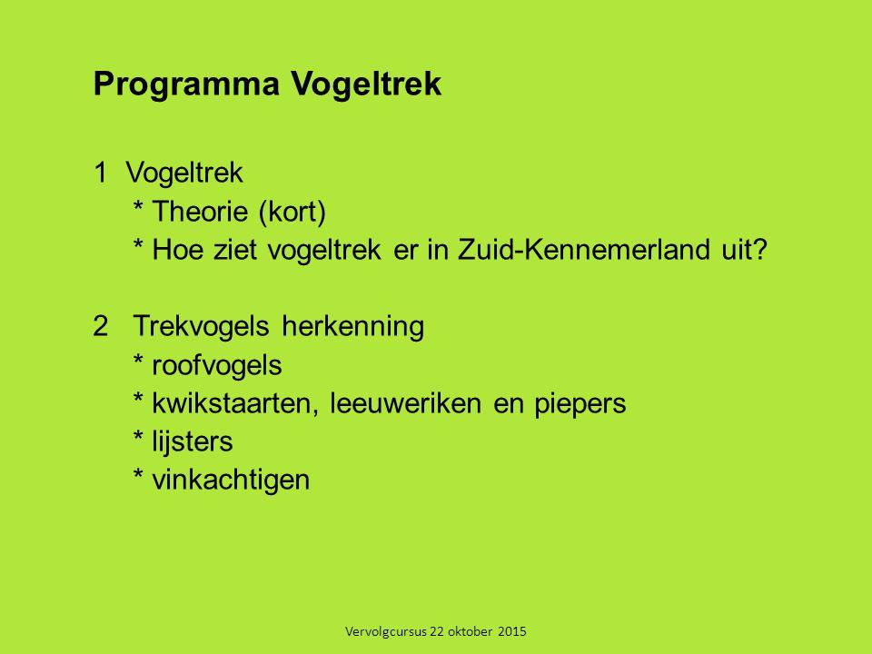 Vervolgcursus 22 oktober 2015 Programma Vogeltrek 1Vogeltrek * Theorie (kort) * Hoe ziet vogeltrek er in Zuid-Kennemerland uit? 2 Trekvogels herkennin