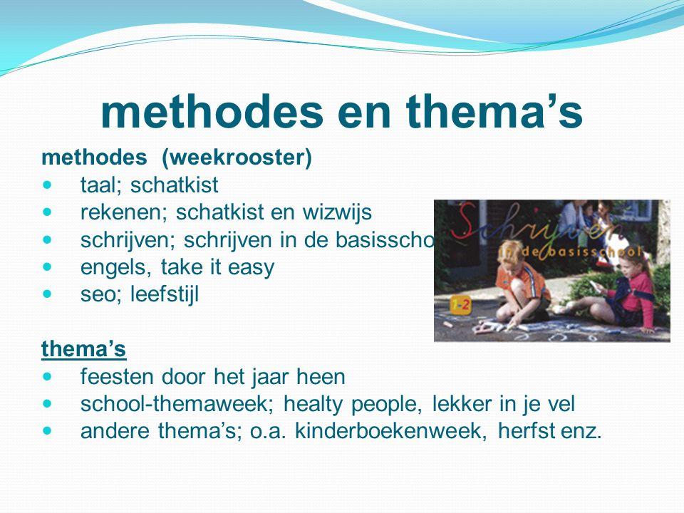 methodes en thema's methodes (weekrooster) taal; schatkist rekenen; schatkist en wizwijs schrijven; schrijven in de basisschool engels, take it easy s