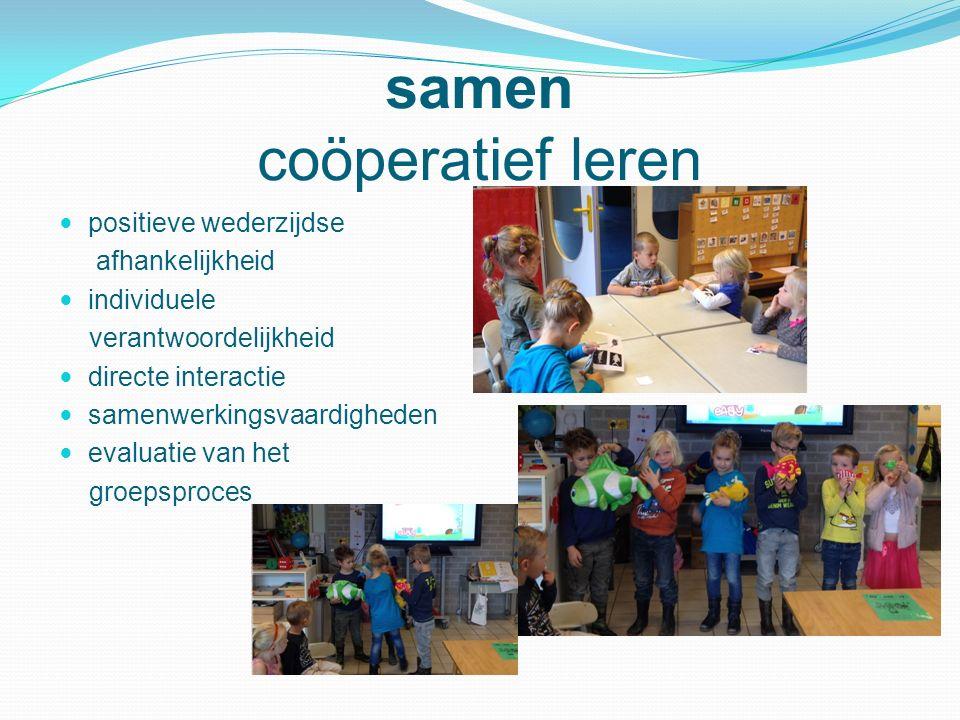 samen coöperatief leren positieve wederzijdse afhankelijkheid individuele verantwoordelijkheid directe interactie samenwerkingsvaardigheden evaluatie