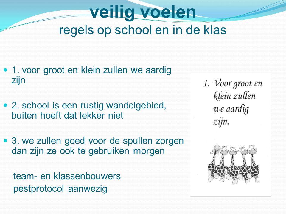 veilig voelen regels op school en in de klas 1. voor groot en klein zullen we aardig zijn 2. school is een rustig wandelgebied, buiten hoeft dat lekke
