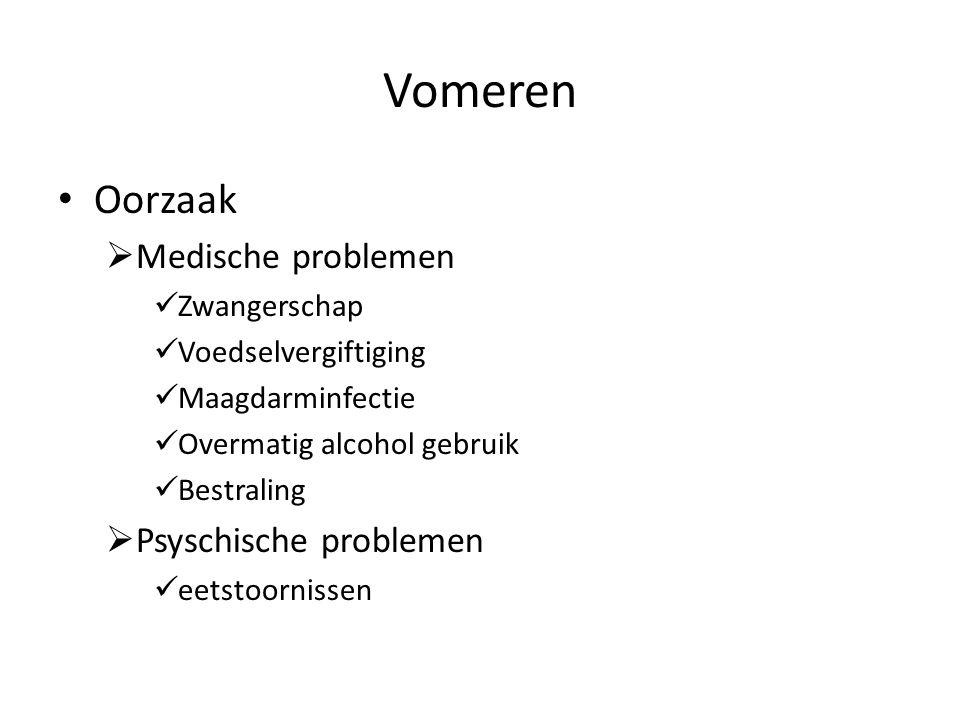 Vomeren Oorzaak  Medische problemen Zwangerschap Voedselvergiftiging Maagdarminfectie Overmatig alcohol gebruik Bestraling  Psyschische problemen eetstoornissen
