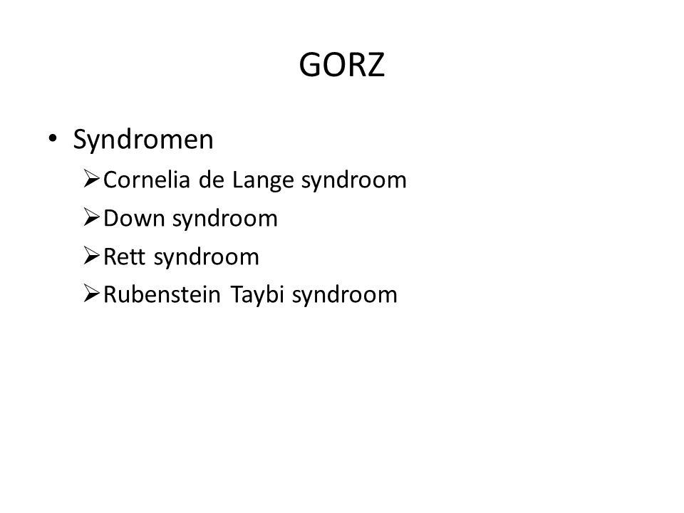 GORZ Syndromen  Cornelia de Lange syndroom  Down syndroom  Rett syndroom  Rubenstein Taybi syndroom