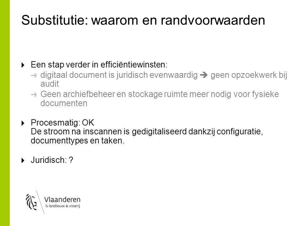 Substitutie: waarom en randvoorwaarden Een stap verder in efficiëntiewinsten: digitaal document is juridisch evenwaardig  geen opzoekwerk bij audit G