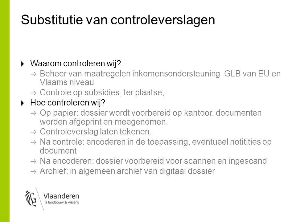 Substitutie van controleverslagen Waarom controleren wij? Beheer van maatregelen inkomensondersteuning GLB van EU en Vlaams niveau Controle op subsidi