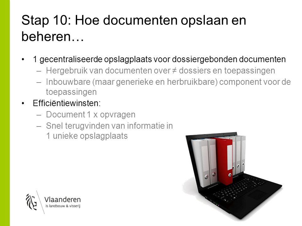 Stap 10: Hoe documenten opslaan en beheren… 1 gecentraliseerde opslagplaats voor dossiergebonden documenten –Hergebruik van documenten over ≠ dossiers