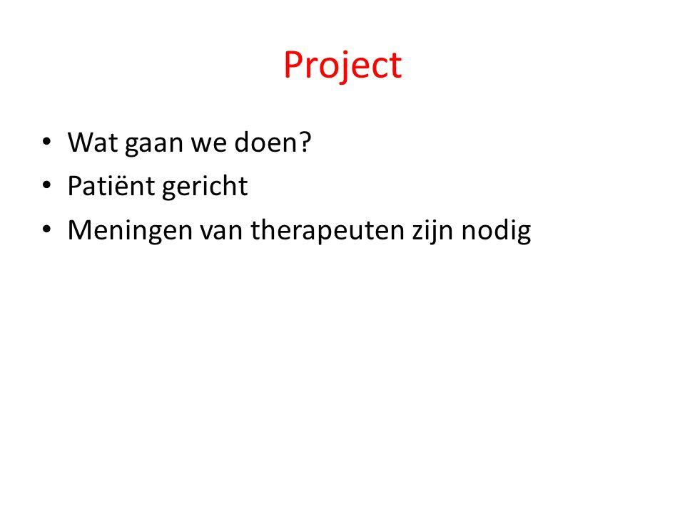 Project Wat gaan we doen Patiënt gericht Meningen van therapeuten zijn nodig
