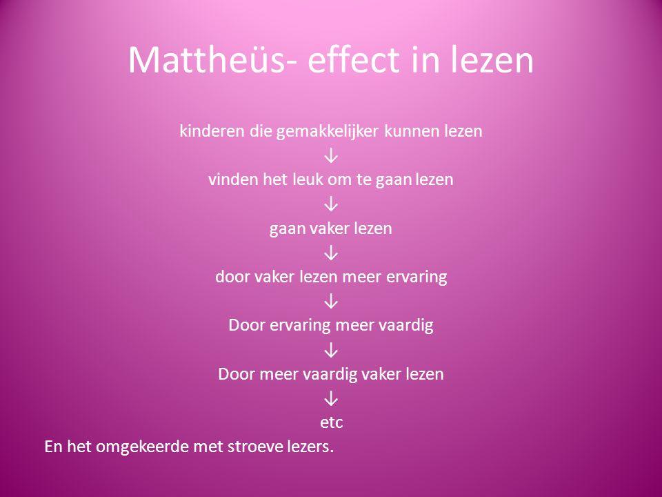 Mattheüs- effect in lezen kinderen die gemakkelijker kunnen lezen ↓ vinden het leuk om te gaan lezen ↓ gaan vaker lezen ↓ door vaker lezen meer ervari