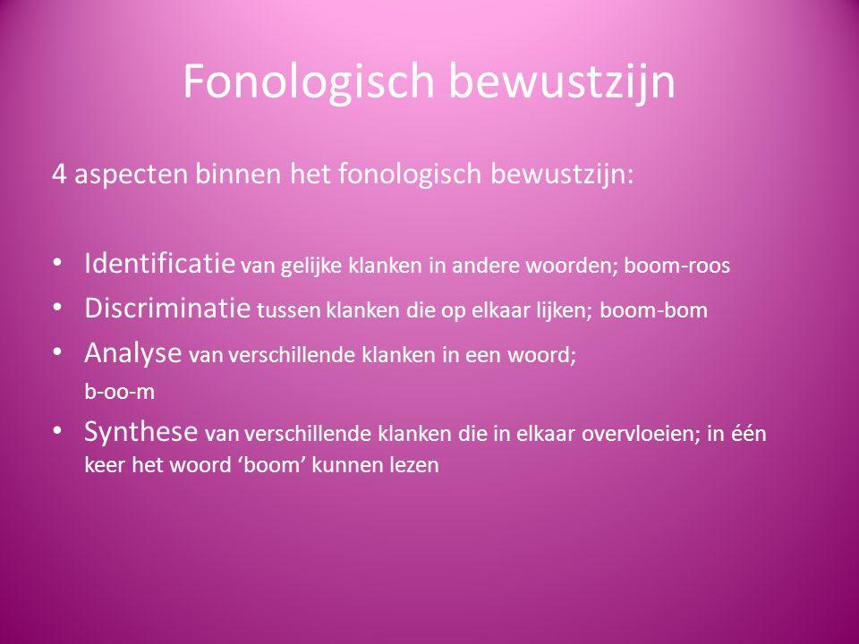 Fonologisch bewustzijn 4 aspecten binnen het fonologisch bewustzijn: Identificatie van gelijke klanken in andere woorden; boom-roos Discriminatie tuss