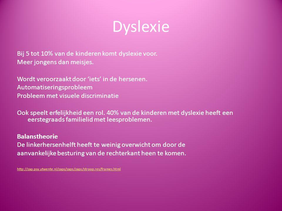 Dyslexie Bij 5 tot 10% van de kinderen komt dyslexie voor. Meer jongens dan meisjes. Wordt veroorzaakt door 'iets' in de hersenen. Automatiseringsprob