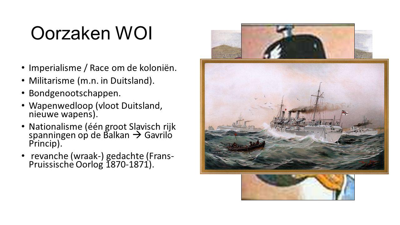 Oorzaken WOI Imperialisme / Race om de koloniën.Militarisme (m.n.